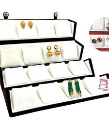 atorakushon VELVET COMBO JEWELLERY  EARRINGS box NECKLACE ORGANISER FOR WOMEN'S 1PCS (CREAM)