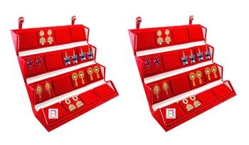 atorakushon Velvet 16 Pair Earrings Organizer Jewellery Box for Women and Girls pack of 2 maroon