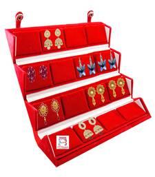 atorakushon Velvet 16 Pair Earrings Organizer Jewellery Box for Women and Girls maroon