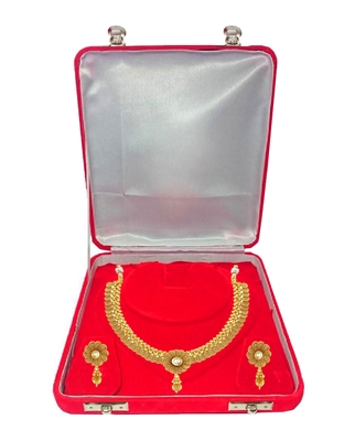 ATORAKUSHON Red Fabric and Plastic Unisex Jewellery Organizer for Necklac, Earrings Top - Pack of 1