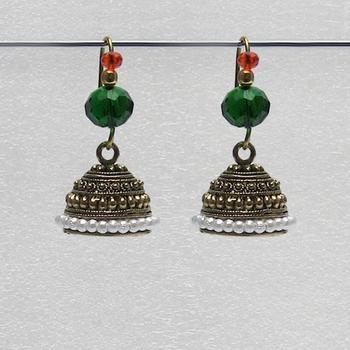 Green Antique Jhumkas