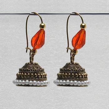 Orange Antique Jhumkas