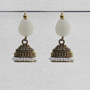White Trendy Antique Jhumkas