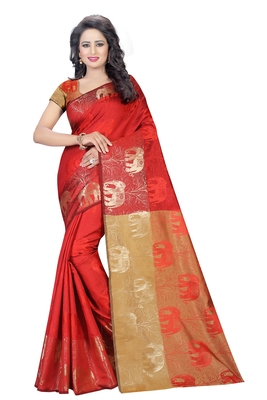 Red Women's New Jacquard Silk Designer Saree With Blouse
