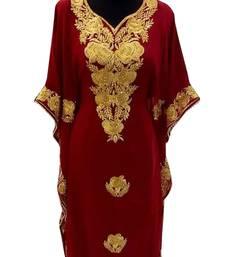 maroon georgette moroccan islamic dubai kaftan farasha aari and stone work dress