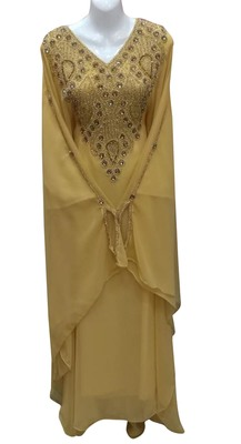 beige georgette moroccan dubai kaftan farasha zari and stone work dress