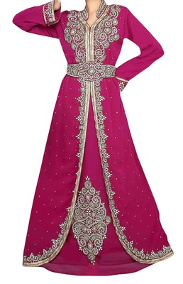 pink georgette moroccan islamic dubai kaftan farasha zari and stone work dress