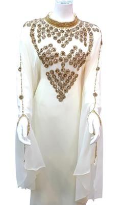 white georgette moroccan islamic dubai kaftan farasha zari and stone work dress