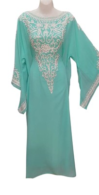 sea green georgette moroccan islamic dubai kaftan farasha aari and stone work dress