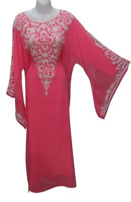 tamato red georgette moroccan islamic dubai kaftan farasha zari and stone work dress