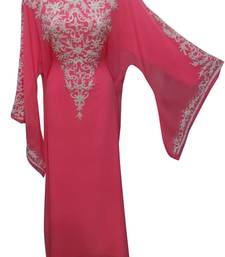 tamato red georgette moroccan islamic dubai kaftan farasha zari and stone work dress
