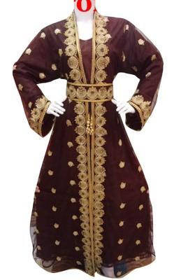 brown georgette moroccan dubai kaftan farasha aari and stone work dress
