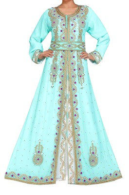 sea green and white georgette moroccan islamic dubai kaftan farasha zari and stone work dress