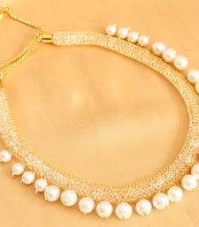 Buy Lovely goldtone white pearl-zircon stone chain necklace Necklace online