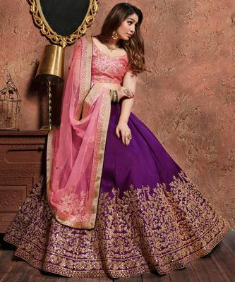 Purple Embroidered Silk Semi Stitched Lehenga