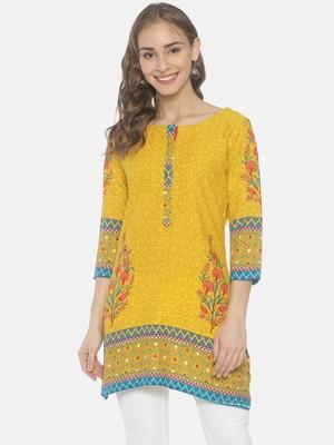 Yellow printed viscose ethnic-kurtis