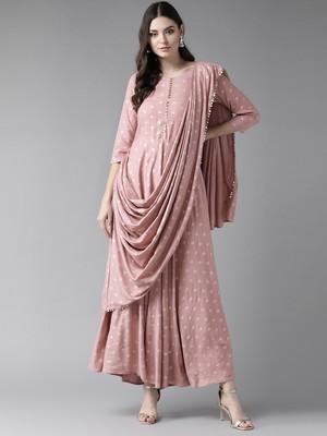 Light-pink printed polyester ethnic-kurtis