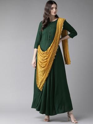 Dark-green printed rayon ethnic-kurtis