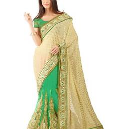 Buy Green embroidered jacquard saree with blouse viscose-saree online
