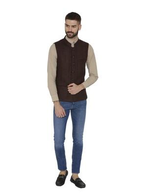 Brown Woven Wool Nehru Jacket
