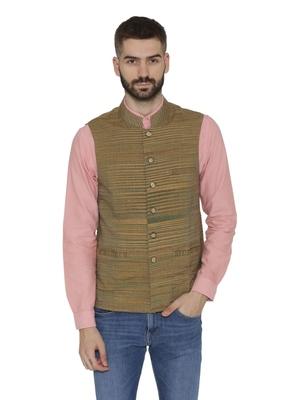 Grey Woven Wool Nehru Jacket