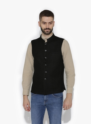 Black Woven Wool Nehru Jacket