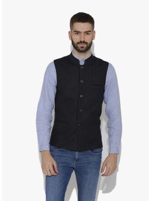 Black Woven Wool Nehru Jacket