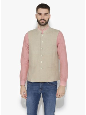 Beige Woven Wool Nehru Jacket