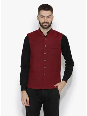 Maroon Woven Wool Nehru Jacket