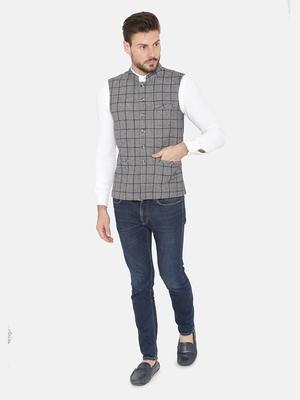 Blue Woven Wool Nehru Jacket