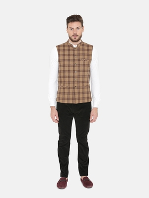 Brown Woven Wool Nehru Jacket