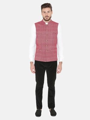 Pink Woven Wool Nehru Jacket