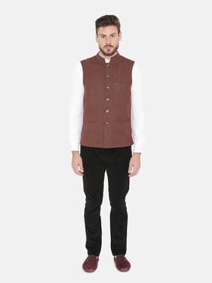 Red Woven Wool Nehru Jacket