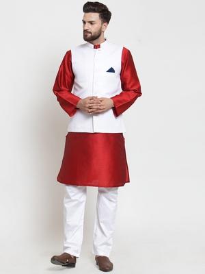 White Woven Dupion Silk Nehru Jacket