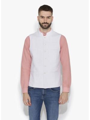 White Woven Cotton Nehru Jacket