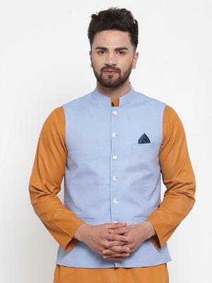 Blue Woven Cotton Nehru Jacket