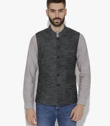 Black Woven Cotton Nehru Jacket