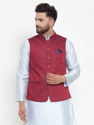 Maroon Woven Cotton Nehru Jacket