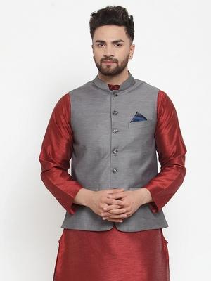 Grey Woven Cotton Nehru Jacket