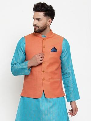Orange Woven Cotton Nehru Jacket
