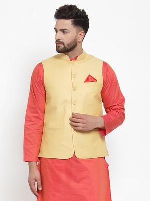 Yellow Woven Cotton Nehru Jacket