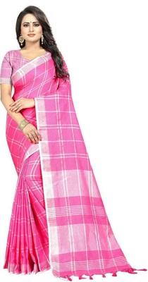 Light pink plain cotton saree with blouse