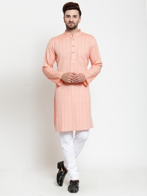 Orange woven cotton kurta-pajama