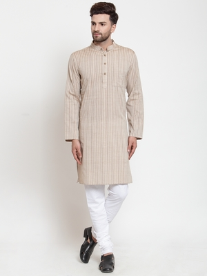 Brown woven cotton kurta-pajama