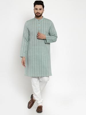 Green woven cotton kurta-pajama