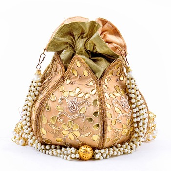 Worthyy Collections Silk Potli in Gold with Embroidery & Gota Patti work