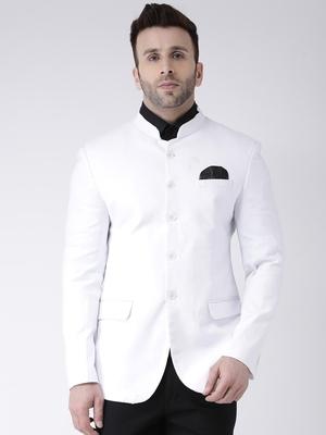 White Plain Cotton Men Blazers