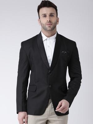 Black Plain Polyester Men Blazers