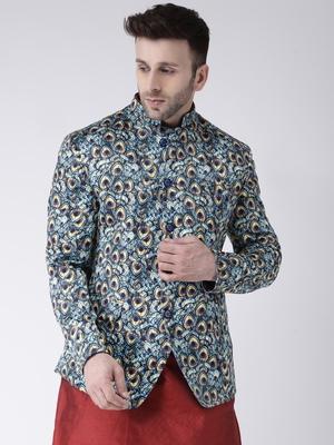 Blue Printed Polyester Men Blazers