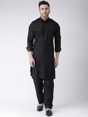 Black Plain Cotton Kurta Pajama